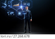 Купить «businessman working with charts on virtual screen», фото № 27268678, снято 9 марта 2017 г. (c) Syda Productions / Фотобанк Лори