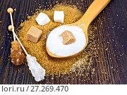 Сахар белый и коричневый разный на деревянной доске. Стоковое фото, фотограф Резеда Костылева / Фотобанк Лори