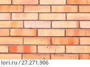 Купить «Texture stone background of red brick wall, texture wall surface with red bricks», фото № 27271906, снято 27 мая 2017 г. (c) Зезелина Марина / Фотобанк Лори