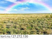Купить «Rainbow over the boundless steppe. Pampas», фото № 27272130, снято 21 сентября 2015 г. (c) Евгений Ткачёв / Фотобанк Лори