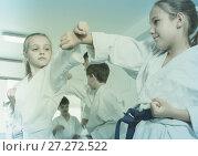 Купить «Children training in pairs», фото № 27272522, снято 25 марта 2017 г. (c) Яков Филимонов / Фотобанк Лори