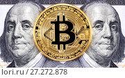 Купить «Cryptocurrency of the Bitcoin with Benjamin Franklin portrait from one hundred american dollars. Business concept of worldwide cryptocurrency», фото № 27272878, снято 30 ноября 2017 г. (c) FotograFF / Фотобанк Лори