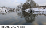 Купить «Деревья на заснеженном берегу реки. Зима», видеоролик № 27273818, снято 6 декабря 2017 г. (c) Яна Королёва / Фотобанк Лори