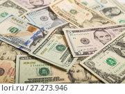 Купить «Dollars background», фото № 27273946, снято 7 декабря 2017 г. (c) Юлия Бабкина / Фотобанк Лори