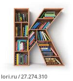 Купить «Letter K. Alphabet in the form of shelves with books isolated on white.», фото № 27274310, снято 24 мая 2018 г. (c) Maksym Yemelyanov / Фотобанк Лори