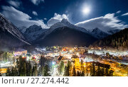 Купить «The Dombay at night», фото № 27274442, снято 6 января 2017 г. (c) Донцов Евгений Викторович / Фотобанк Лори