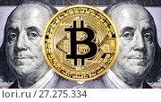 Купить «Cryptocurrency of the Bitcoin with Benjamin Franklin portrait from one hundred american dollars. Business concept of worldwide cryptocurrency», фото № 27275334, снято 30 ноября 2017 г. (c) FotograFF / Фотобанк Лори