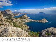 Купить «Живописный вид на пляжи и бухты Нового Света. Крым», фото № 27278438, снято 18 октября 2015 г. (c) Яна Королёва / Фотобанк Лори