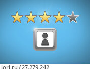Купить «User profile and review rating stars», фото № 27279242, снято 13 декабря 2019 г. (c) Wavebreak Media / Фотобанк Лори