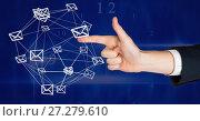 Купить «Hand touching 3D email message connected icons», фото № 27279610, снято 17 июля 2018 г. (c) Wavebreak Media / Фотобанк Лори