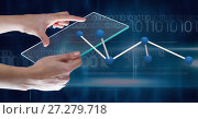 Купить «Hand holding tablet with 3D science connector icon», фото № 27279718, снято 17 октября 2018 г. (c) Wavebreak Media / Фотобанк Лори