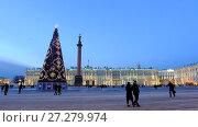 Купить «Christmas tree on the background of the Hermitage on a winter evening. The Palace Square. Saint-Petersburg. Russia», видеоролик № 27279974, снято 7 декабря 2017 г. (c) Ольга Визави / Фотобанк Лори