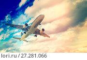 Large airliner in cloudy sky. Стоковое фото, фотограф Яков Филимонов / Фотобанк Лори