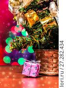 Toys and decorative box on the Christmas tree. Стоковое фото, фотограф Евгений Ткачёв / Фотобанк Лори