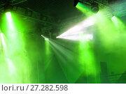 Купить «Stage lights. Soffits. Concert light», фото № 27282598, снято 21 июля 2019 г. (c) Евгений Ткачёв / Фотобанк Лори