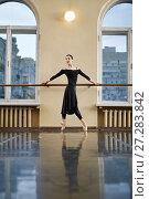 Купить «Ballerina posing in dance hall», фото № 27283842, снято 9 июля 2017 г. (c) Andriy Bezuglov / Фотобанк Лори