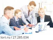Купить «Focused business team working in office», фото № 27285034, снято 1 июля 2017 г. (c) Яков Филимонов / Фотобанк Лори