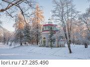 Купить «Павильон Скрипучая беседка в Екатерининском парке зимой. Пушкин», фото № 27285490, снято 19 января 2014 г. (c) Юлия Бабкина / Фотобанк Лори