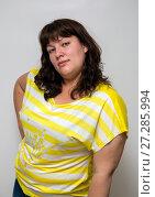 portrait of young attractive plump woman. Стоковое фото, фотограф Михаил Коханчиков / Фотобанк Лори