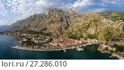 Купить «Bay of Kotor and old city - aerial panorama», фото № 27286010, снято 1 июля 2017 г. (c) Михаил Коханчиков / Фотобанк Лори