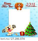 Купить «Новогодний фон голубого цвета с отпечатками лап, белым плакатом, собаками пород кокер спаниэль и акита ину, подарками и наряженной елкой, надписью Happy New year 2018. Иллюстрация в мультипликационном стиле», иллюстрация № 27286074 (c) Анастасия Некрасова / Фотобанк Лори