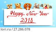 Купить «Пять милых рыжих, коричневых и желтых собак различных пород и белый плакат с надписью Happy New Year 2018. Иллюстрация в мультипликационном стиле на голубом фоне со снежинками», иллюстрация № 27286078 (c) Анастасия Некрасова / Фотобанк Лори