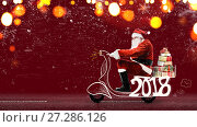 Купить «Santa Claus on scooter», фото № 27286126, снято 25 апреля 2018 г. (c) Сергей Петерман / Фотобанк Лори