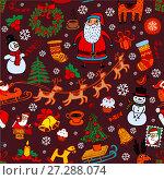 Купить «Christmas seamless background with doodle symbols», иллюстрация № 27288074 (c) Миронова Анастасия / Фотобанк Лори