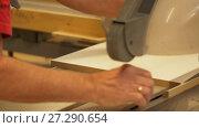 Купить «carpenter with panel saw and fibreboard at factory», видеоролик № 27290654, снято 17 ноября 2017 г. (c) Syda Productions / Фотобанк Лори