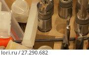 Купить «drills and woodworking tools at workshop», видеоролик № 27290682, снято 17 ноября 2017 г. (c) Syda Productions / Фотобанк Лори