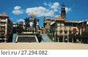 Купить «Architecture of main square of Fra Bernadi of provincial city of Manlleu, Spain», видеоролик № 27294082, снято 31 июля 2017 г. (c) Яков Филимонов / Фотобанк Лори