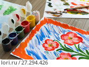 Купить «colored gouache and children's pattern», фото № 27294426, снято 24 ноября 2017 г. (c) Володина Ольга / Фотобанк Лори