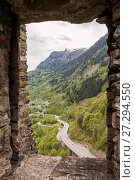 Купить «View from the castle of Mesocco on the highway and the town of Soazza in the valley of the river Moesa, Switzerland», фото № 27294550, снято 12 мая 2013 г. (c) Юлия Бабкина / Фотобанк Лори
