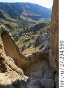 Купить «A beautiful view from the caves of the monastery to the valley. Vardzia, Georgia», фото № 27294590, снято 23 сентября 2017 г. (c) Яна Королёва / Фотобанк Лори
