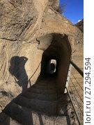 Купить «Узкий проход в горе, пещерный город. Вардзия, Грузия», фото № 27294594, снято 23 сентября 2017 г. (c) Яна Королёва / Фотобанк Лори