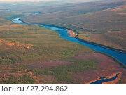 Сибирская тайга и река Тунгуска осенью с вертолета. Стоковое фото, фотограф Олег Елагин / Фотобанк Лори