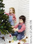 Купить «Little brother and sister in red plaid shirts and denim overalls decorate Christmas tree», фото № 27298178, снято 16 декабря 2017 г. (c) ivolodina / Фотобанк Лори