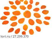 Купить «Снежинка из сушеного абрикоса на белом фоне крупно. Натюрморт из пищевых продуктов», фото № 27299370, снято 10 декабря 2017 г. (c) Максим Мицун / Фотобанк Лори