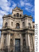 Купить «Baroque style Chiesa di San Placido Monaco e Martire (Church of Saint Placidus) in Catania city on the east side of Sicily Island, Italy.», фото № 27303094, снято 16 декабря 2016 г. (c) easy Fotostock / Фотобанк Лори