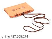 Купить «Vintage orange audio cassette with magnetic tape isolated over white», фото № 27308274, снято 6 сентября 2016 г. (c) Курганов Александр / Фотобанк Лори