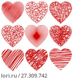 Купить «Set of abstract stylized hearts isolated on white», иллюстрация № 27309742 (c) Сергей Лаврентьев / Фотобанк Лори
