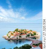 Купить «The morning view of Sveti Stefan sea islet (Montenegro)», фото № 27320934, снято 22 июня 2012 г. (c) Юрий Брыкайло / Фотобанк Лори