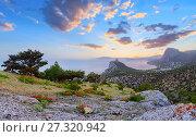 Купить «Crimea sunrise coastline landscape», фото № 27320942, снято 23 октября 2018 г. (c) Юрий Брыкайло / Фотобанк Лори