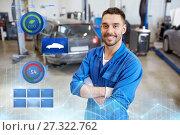 Купить «happy auto mechanic man or smith at car workshop», фото № 27322762, снято 1 июля 2016 г. (c) Syda Productions / Фотобанк Лори