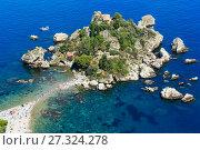 Купить «Taormina Isola Bella islet, Sicily», фото № 27324278, снято 11 июня 2017 г. (c) Юрий Брыкайло / Фотобанк Лори