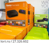 A selection of Roku video-streaming products on display in a Best Buy store in New York on Sunday, September 3, 2017. Roku is reported to have filed for... Редакционное фото, фотограф Richard Levine / age Fotostock / Фотобанк Лори