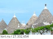 Купить «Trulli houses roofs in Alberobello, Italy», фото № 27332654, снято 6 июня 2017 г. (c) Юрий Брыкайло / Фотобанк Лори