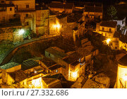 Купить «Night Stilo village, Calabria, Italy.», фото № 27332686, снято 10 июня 2017 г. (c) Юрий Брыкайло / Фотобанк Лори
