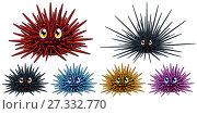 Купить «Набор из шести разноцветных морских ежей с глазами и улыбкой, красного, черного, голубого, розового и желтого цвета изолированно на белом фоне. Иллюстрация морских животных в мультипликационном стиле», иллюстрация № 27332770 (c) Анастасия Некрасова / Фотобанк Лори