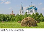 Купить «Стог сена на зеленой траве на фоне церкви», фото № 27332986, снято 15 июля 2017 г. (c) Яковлев Сергей / Фотобанк Лори